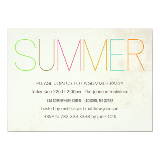 Summer Bright Summer Party Invitations