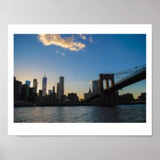 Summer Brooklyn Bridge Sunset Poster