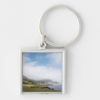 Summer california road trip on highway 1 along Silver-Colored square key ring