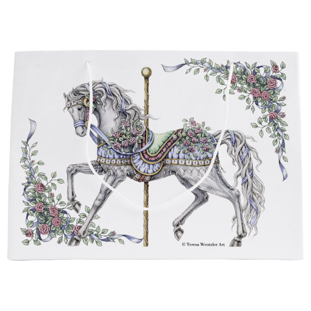 Summer Carousel Horse Drawing Gift Bag Zazzle Co Uk