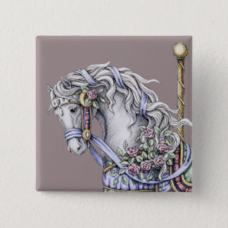 Summer Carousel Horse Drawing Square Button