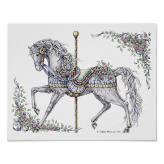 Summer Carousel Horse Pen and Ink Drawing Poster