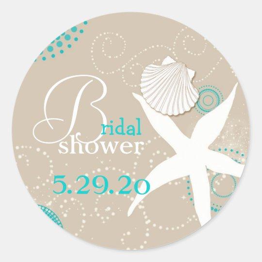 Summer Celebration Beach Bridal Shower Classic Round Sticker