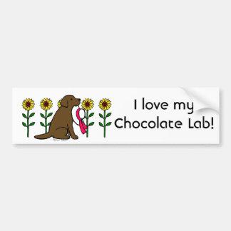 Summer Chocolate Labrador with Sunflowers Bumper Sticker
