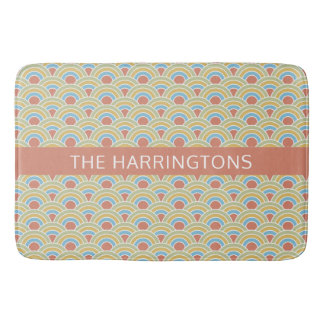 Summer Circles Pattern custom name bath mats