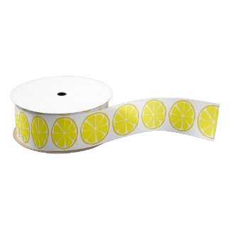 Summer Citrus Lemon Ribbon Grosgrain Ribbon