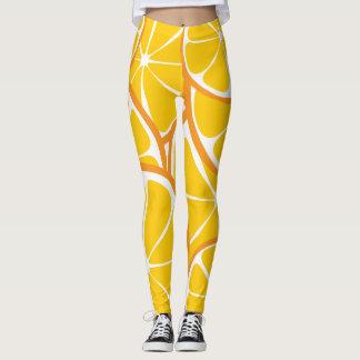 Summer Citrus Orange Leggings - Bold Print