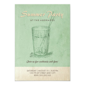 Summer Cocktail Party Adult Retro Style Mint Green 11 Cm X 16 Cm Invitation Card