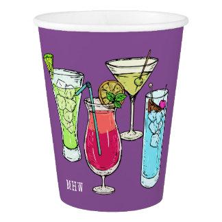 Summer Cocktails custom monogram paper cups