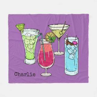 Summer Cocktails custom name fleece blankets