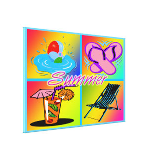 """Summer Collage 36""""x24"""" Stretched Canvas Print"""