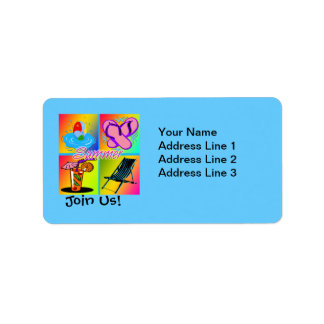 Summer Collage Party Invitation Address Labels