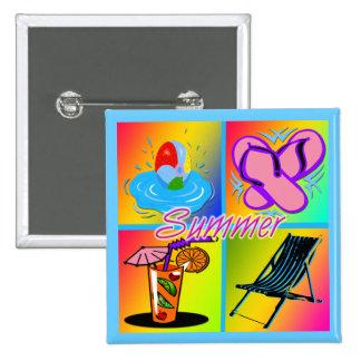 Summer Collage Square Button