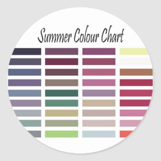 Summer Color Chart Classic Round Sticker