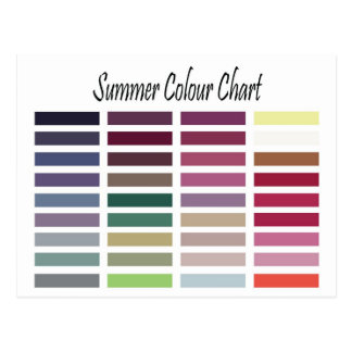 Summer Color Chart Postcard