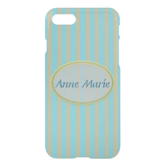 Summer Colors Aqua and Beige Stripes - Classic iPhone 8/7 Case