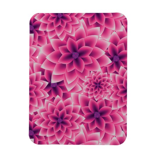 Summer colourful pattern purple dahlia rectangular photo magnet