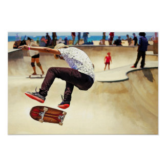 Summer Concrete Skate Board Park at the Beach Poster