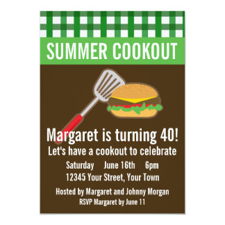 """Summer Cookout 5"""" X 7"""" Invitation Card"""