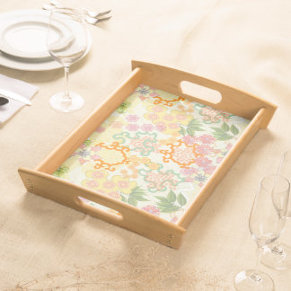 Summer Cottage Flowers Wooden Tray Food Trays