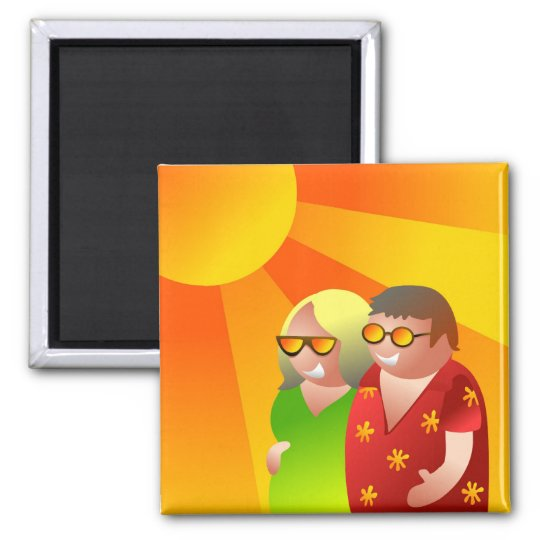 Summer Couple Square Magnet