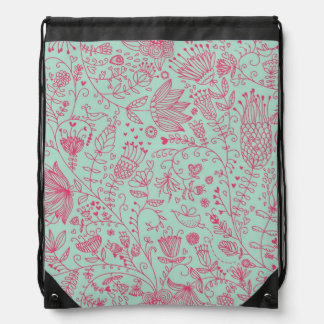 Summer cute floral pattern drawstring bag
