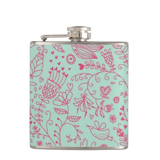 Summer cute floral pattern flasks