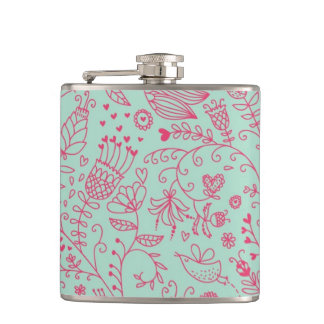 Summer cute floral pattern hip flask