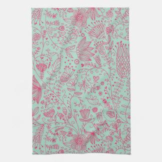 Summer cute floral pattern tea towel