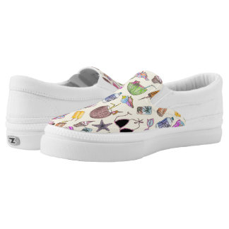 Summer Cute Girly Beach Collage on Yellow Slip-On Shoes