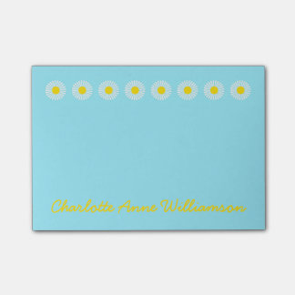 Summer Daisies on Blue Personalized Post-it Notes