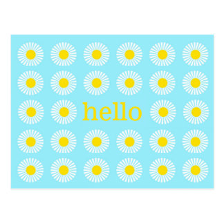 Summer Daisy Blue and Yellow Hello Postcard