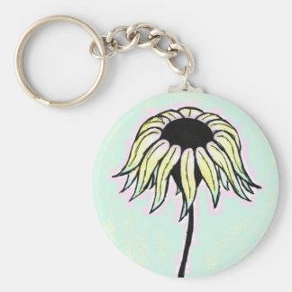 Summer Daisy Basic Round Button Keychain