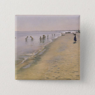 Summer Day at the South Beach of Skagen, 1884 15 Cm Square Badge