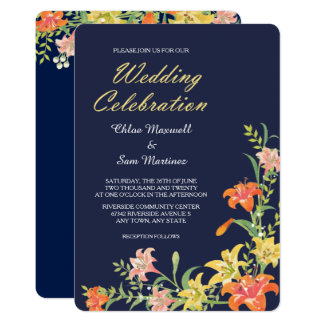 Summer Daylilies on Navy Blue Wedding Invitation