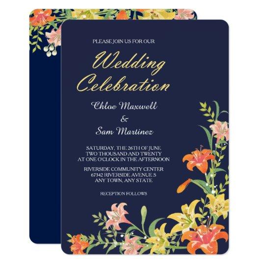 Summer Daylilies on Navy Blue Wedding Invitation