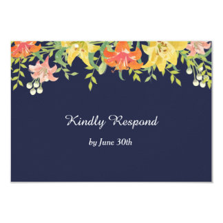Summer Daylilies on Navy Blue Wedding RSVP Card