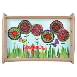 Summer Days Pretty Whimsical Floral Design Serving Tray