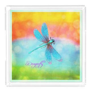 Summer Dragonfly Rainbow Bright Decorative Acrylic Tray