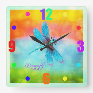 Summer Dragonfly Rainbow Bright Decorative Square Wall Clock