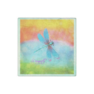 Summer Dragonfly Rainbow Bright Decorative Stone Magnet