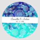 Summer dreamcatchers feathers turquoise watercolor classic round sticker