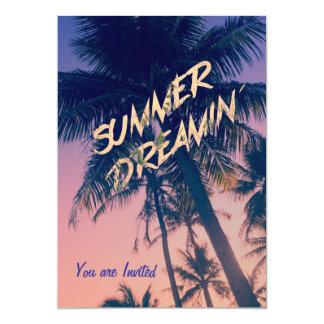 Summer Dreamin Tropical Island Palm Trees Sunrise 13 Cm X 18 Cm Invitation Card
