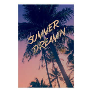 Summer Dreamin Tropical Island Palm Trees Sunrise Poster