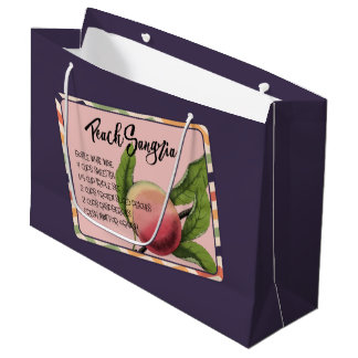 Summer Drinks Peach Sangria Large Gift Bag