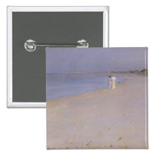 Summer evening at the South Beach, Skagen, 1893 15 Cm Square Badge