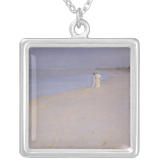 Summer evening at the South Beach, Skagen, 1893 Silver Plated Necklace