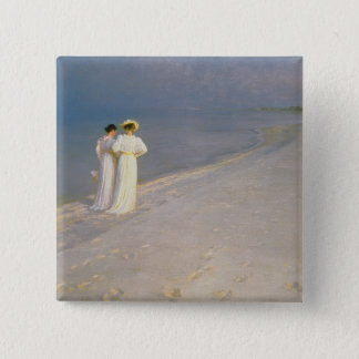 Summer Evening on the Skagen Southern Beach 15 Cm Square Badge
