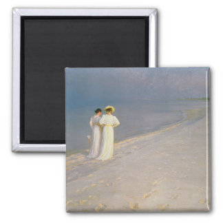Summer Evening on the Skagen Southern Beach Square Magnet