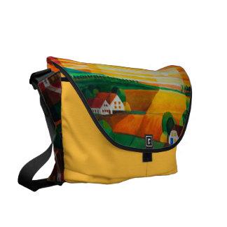 Summer evening over the village - shoulder bag messenger bag